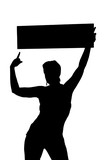 girl holding thin sign poster