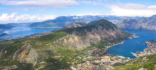 Boka Kotorska bay panorama from the mountain above