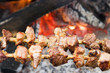 Pork pieces on wooden stick (traditional  shish kebab) roasting