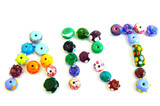 colorful beads spelling