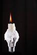 Lightbulb and burning candle