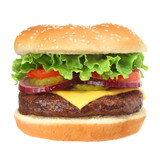 Fototapety Cheeseburger isolated on white
