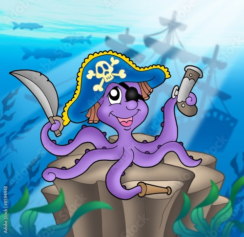Fotobehang Piraten Pirate octopus with shipwreck
