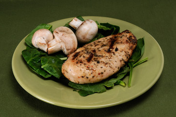 Grilled Chicken, Spinach and Musrooms