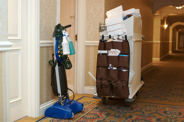 Housekeeping cart outside a hotel room