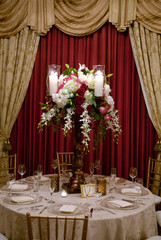 Elaborate table setting at a wedding