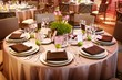 Leinwanddruck Bild - An elaborate table setting at a reception