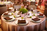 An elaborate table setting at a reception