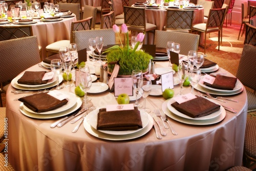 An elaborate table setting at a reception - 8598645
