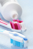 toothpaste and toothbrushes poster