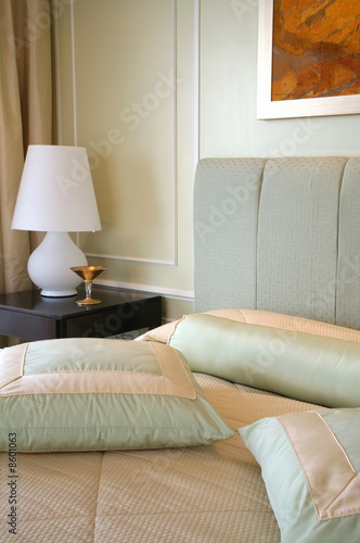 Bed and sidetable