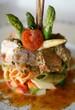 Stylized vegetable tuna pasta plate
