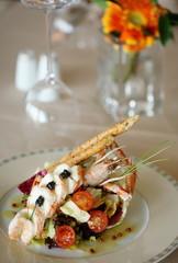 Stylized seafood plate