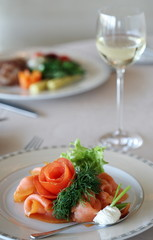 Smoked salmon dish on dinner table