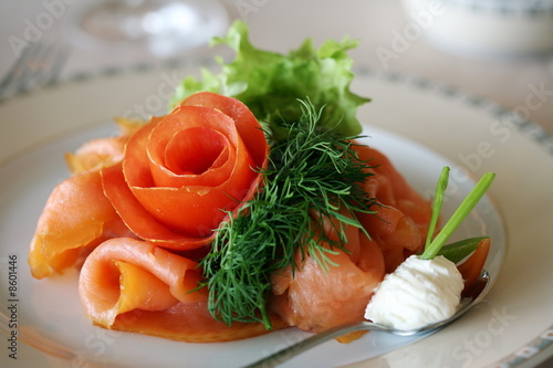 Artfully arranged smoked salmon dish