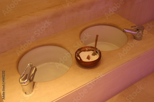 Bathroom sink with spa treatment
