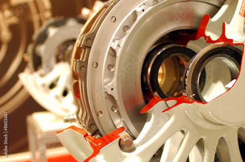 Leinwanddruck Bild aircraft wheel and brake assembly x-section
