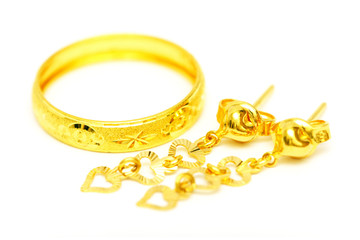 Golden Ring And Earrings