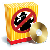 Box with anti-spy sign and CD poster