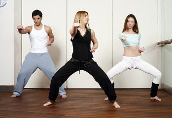 Students in an Active Tae Bo class