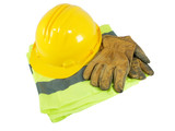 Yellow hardhat, old leather gloves and reflective vest poster
