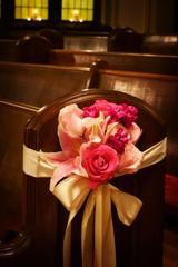 Wedding flowers in a church