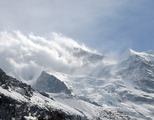 Snow storm over Eiger glacier