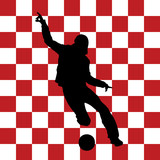 football player with croatian flag in background poster
