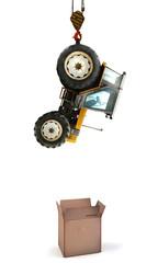 tracteur boite en carton