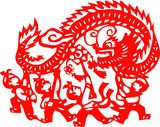 kids playing dragon - chinese traditional papercut poster