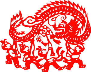 kids playing dragon - chinese traditional papercut