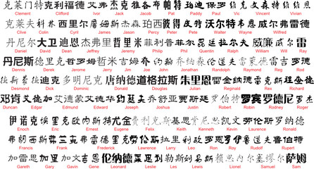 vector chinese writing with english translation 2