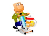Businessman with shopingcart