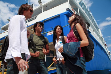 Young people at ferry dock