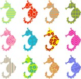 patterned seahorse poster