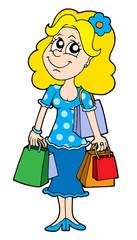 Blond shopping girl
