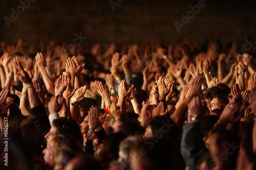 foule fan spectateur concert musique main bras applaudir - 8626257