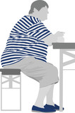 obese woman eating  vector poster