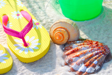 Beach Accessories in Morning Sun