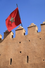 Moroccan flag on building