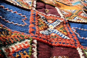 Closeup of colorful patterned carpet