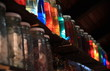 Rows of colorful jars