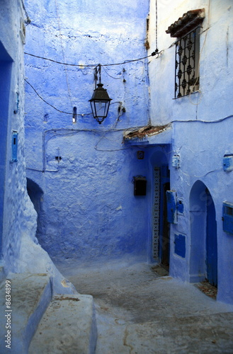 Blue alley with doorways