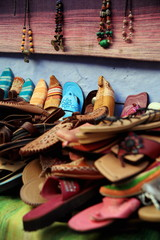 Moroccan slippers and necklaces for sale