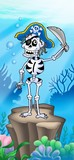 Pirate skeleton on sea bottom