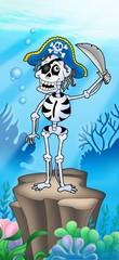 Pirate skeleton on sea bottom