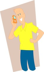 Vector Man with Cellphone