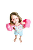 little girl with goggles sticking tongue out poster