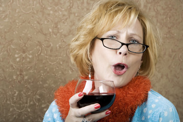 Funny Woman Drinking Wine