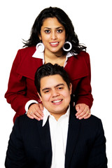 Hispanic Couple Smiling Portrait Isolated
